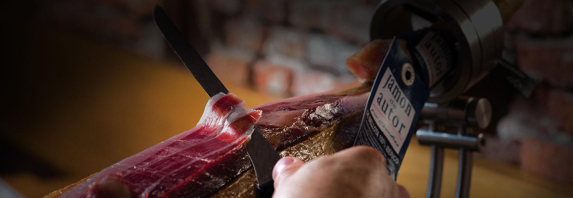 slide corte jamón de bellota ibérico